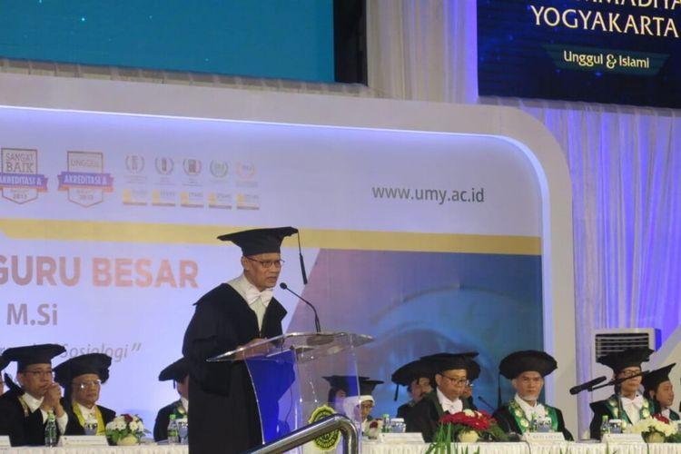 Haedar Nashir dikukuhkan sebagai Guru Besar di Universitas Muhammadiyah Yogyakarta (UMY) Kamis (12/12/2019).