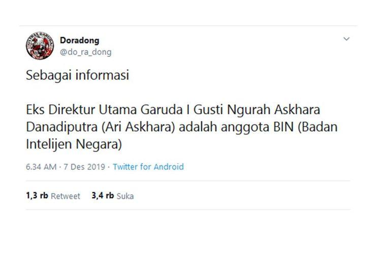 Tangkapan layar dari unggahan pemilik akun Twitter @do_ra_dong yang menyebut mantan Dirut Garuda Indonesia adalah sebagai anggota Badan Intelijen Negara (BIN).