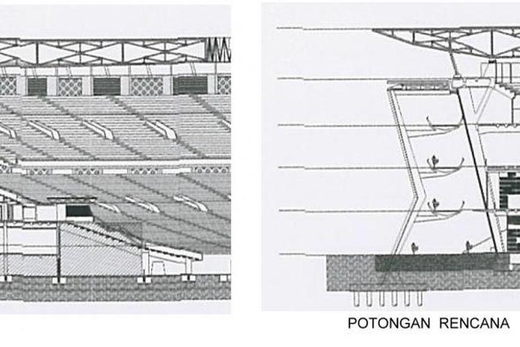 Perbandingan potongan eksisting dan rencana ramp pada Stadion Utama Gelora Bung Karno Senayan.