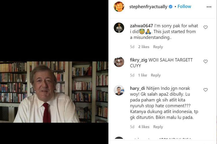 Tangkapan layar unggahan Stephen Fry di Instagram, yang menjadi target salah sasaran amarah netizen Indonesia. Mereka mengira dia adalah wasit All England 2021 yang dinilai merugikan ganda putra Muhammad Ahsan/Hendra Setiawan.