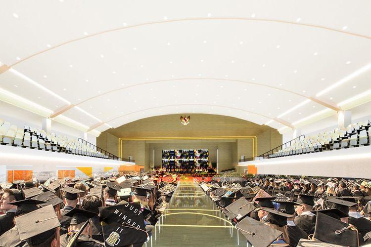 Ilustrasi gedung olahraga yang nantinya dapat digunakan sebagai tempat berbagai kegiatan termasuk wisuda.