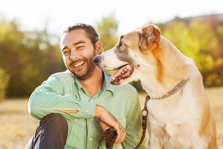 Ilustrasi anjing dan pemiliknya. Anjing sahabat manusia