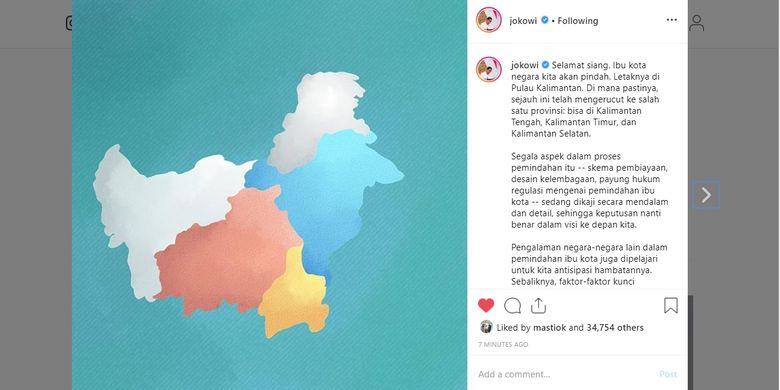 Tulisan Presiden Joko Widodo terkait rencana pemindahan ibu kota negara yang diunggah ke akun Instagram resminya, Kamis (8/8/2019).
