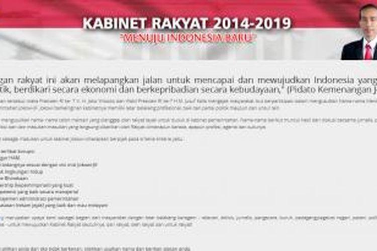 Halaman muka situs web Kabinet Rakyat