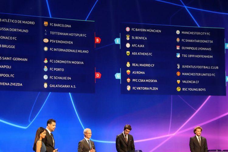 Hasil undian pembagian grup Liga Champions 2018-2019, Kamis (30/8/2018) di Monako.