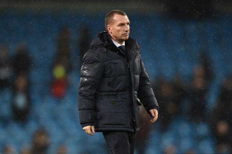 Manajer Leicester City, Brendan Rodgers, bereaksi atas kekalahan mereka dalam pertandingan Liga Inggris antara Manchester City vs Leicester City di Stadion Etihad pada 21 Desember 2019.