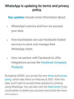 Notifikasi yang diterima KompasTekno berkaitan dengan kebijakan baru privasi WhatsApp, Kamis (7/1/2021)