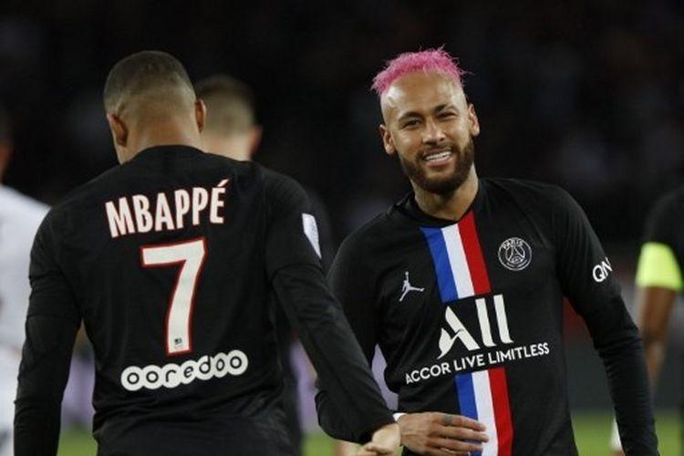 Kylian Mbappe dan Neymar tampil di laga PSG vs Montpellier pada Ligue 1 Perancis, Minggu (2/2/2020) dini hari WIB.