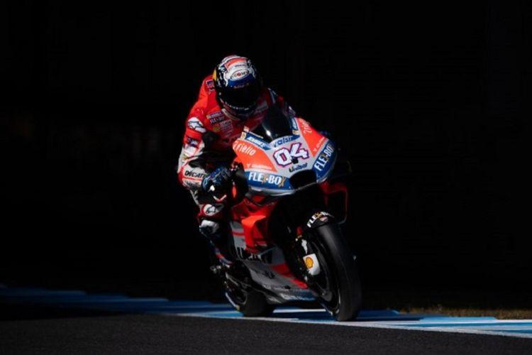 Pebalap Ducati, Andrea Dovizioso, menjalani sesi latihan bebas ketiga MotoGP Jepang di Sirkuit Motegi, 20 Oktober 2018.