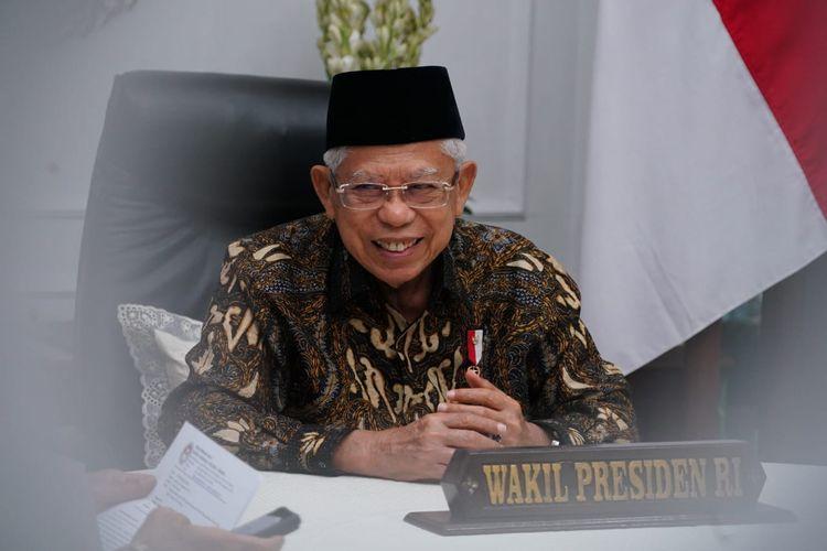 Wakil Presiden Ma'ruf Amin i acara Kuliah Ekspor Nasional pada Konferensi Ekspor Nasional 2021 yang dilaksanakan secara daring, Kamis (3/9/2021).