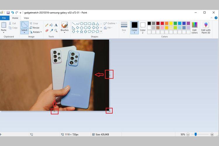 Cara crop foto atau gambar di Microsoft Paint