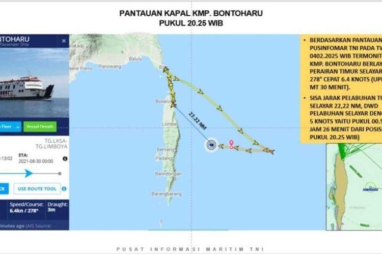 Posisi KMP Bontoharu terbawa arus cuaca buruk saat pelayaran dari Pelabuhan Bira, Kabupaten Bulukumba menuju Pelabuhan Pamatata, Kabupaten Kepulauan Selayar, Sulawesi Selatan, Jumat (2/4/2021).