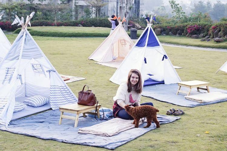 Pengunjung tengah menikmati piknik di Tenda Dibawah Bintang, Bandung Barat.