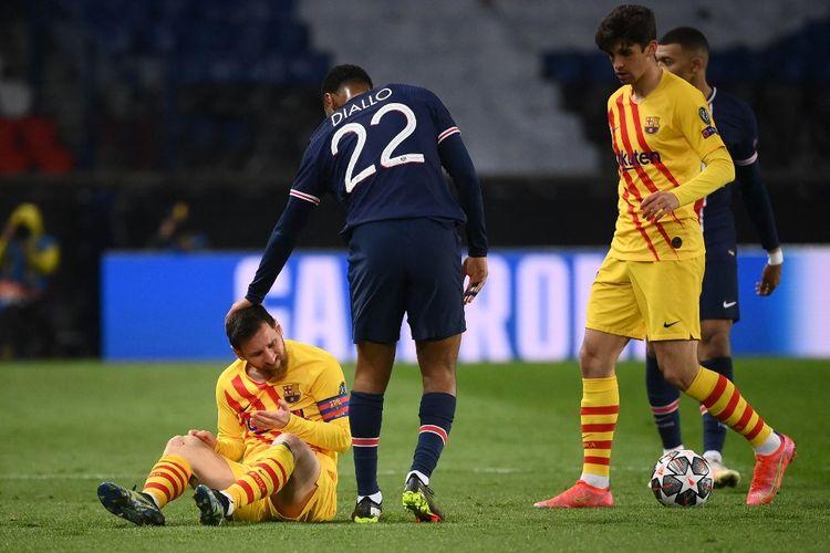 Lionel Messi dalam laga babak 16 besar Liga Champions 2020-2021, Paris Saint-Germain vs Barcelona, di Stadion Parc des Princes, 10 Maret 2021.