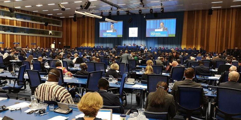 Menristekdikti Mohamad Nasir saat menghadiri Sidang Umum International Atomic Energy Agency (IAEA) ke-63 di Wina, Austria, pada Senin (16/9/2019).
