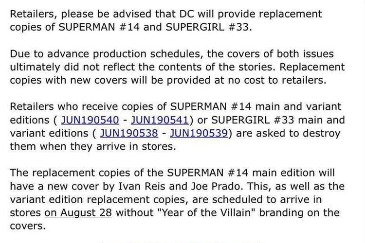 Pengumuman dari DC Comics tentang komik superman dan supergirl.