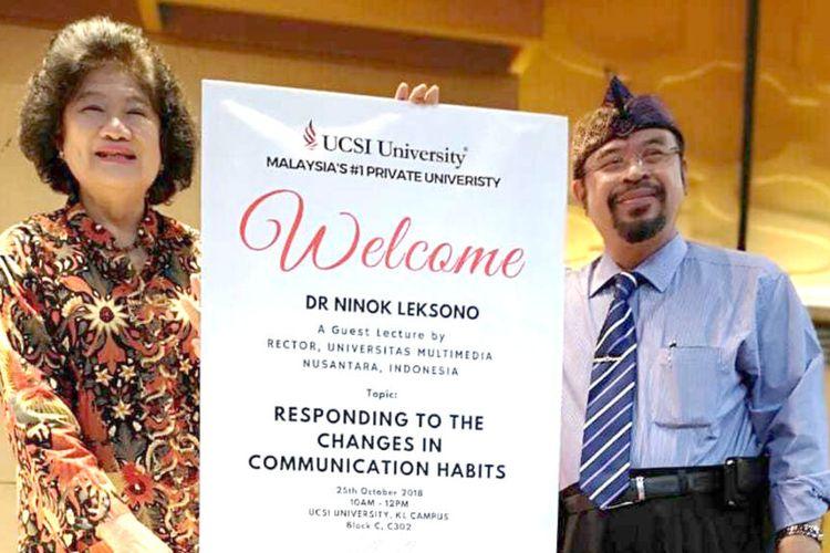 Rektor Universitas Multimedia Nusantara (UMN) Dr. Ninok Leksono M.A. diangkat sebagai guru besar tamu (Visiting Professor of Practice) di UCSI University, universitas swasta terkemuka di Malaysia, pekan lalu (13/6/2020).