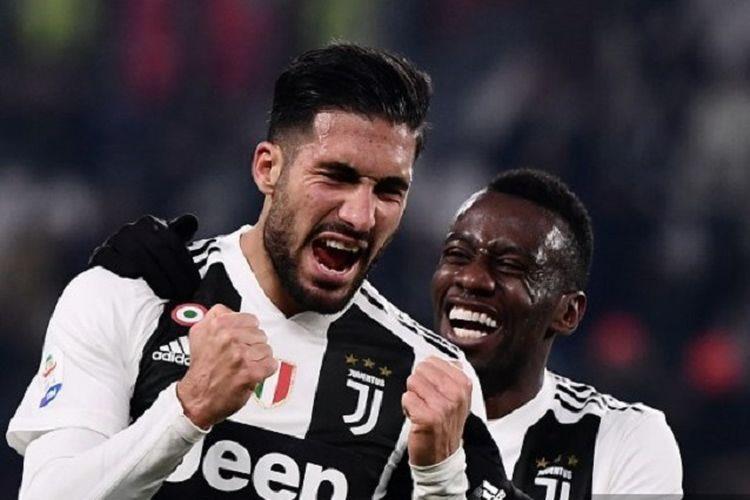 Emre Can merayakan golnya bersama Blaise Matuidi pada pertandingan Juventus vs Chievo Verona dalam lanjutan Liga Italia di Stadion Allianz, Turin, 21 Januari 2019.