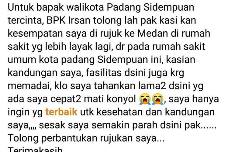 isi postingan warga Kota Padang Sidempuan yang ditetapkan sebagai PDP Covid-19 di beranda FB nya mengeluhkan kondisinya yang semakin memburuk, Jumat (3/4/2020)
