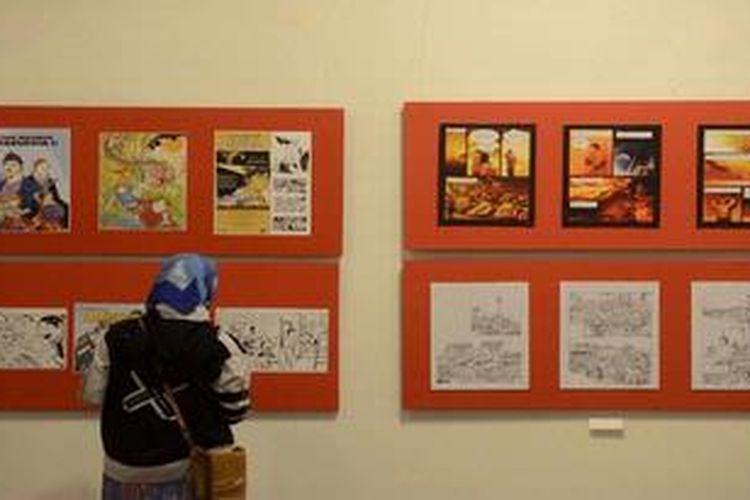 Karya dari sedikitnya seratus komikus Indonesia dipamerkan dalam acara Festival Komik Nasional 2012 di Jogja National Museum, Wirobrajan, Yogyakarta, Jumat (28/12/2012). Kegiatan ini untuk memberikan wawasan kepada masyarakat tentang perkembangan komik Indonesia yang kini telah memasuki era digital dan semakin banyak digunakan di dunia pendidikan.