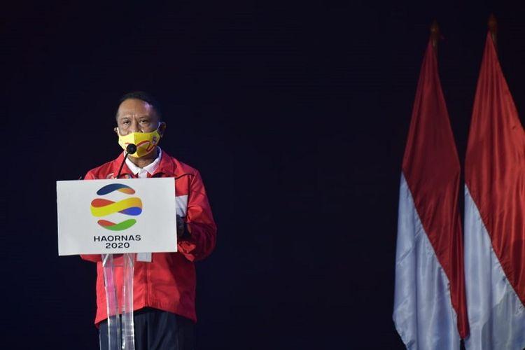 Menteri Pemuda dan Olahraga (Menpora) Zainudin Amali saat menghadiri acara peringatan Hari Olahraga Nasional (Haornas) ke-37 di GOR POPKI, Cibubur, Jakarta Timur, Rabu (9/9/2020). (Dok. Kemenpora)
