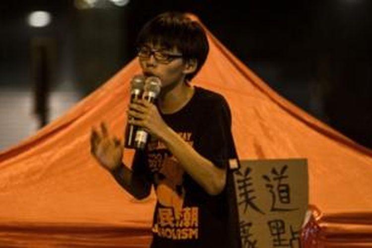 Joshua Wong (17), salah satu otak penggerak aksi massa pro-demokrasi di Hongkong.