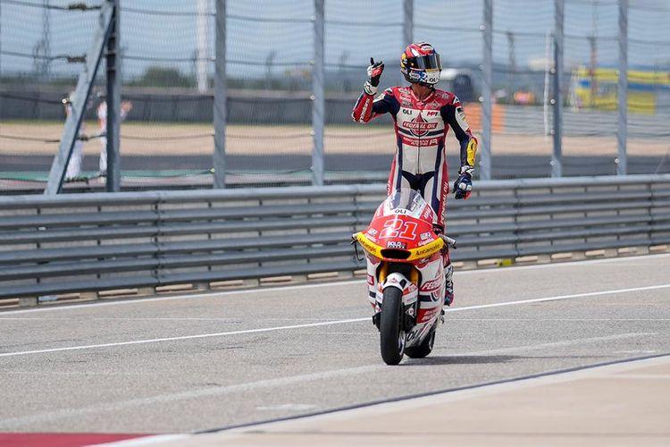 Pebalap Federal Oil Gresini Moto2 (FOGM2), Fabio Di Giannantonio, saat balapan pada Moto2 Amerika 2021