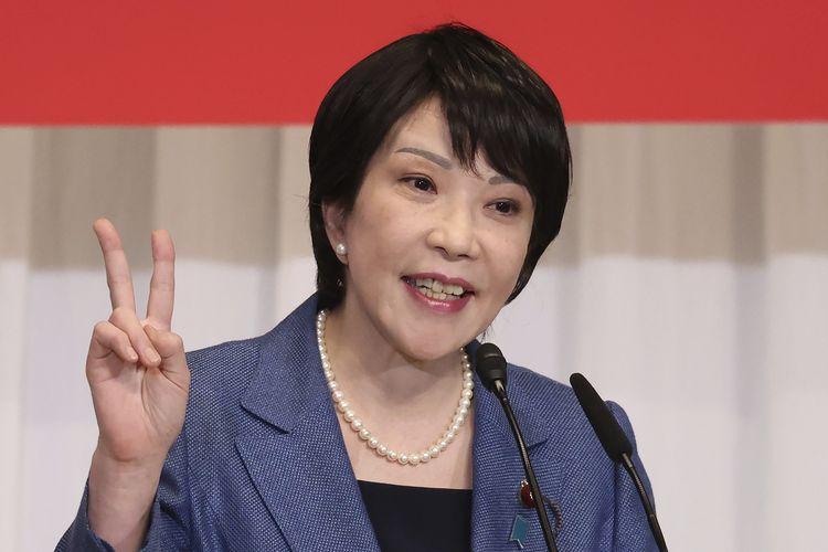 El primer ministro y ex ministro del Interior, el candidato japonés Sane Takai, se dirigió a un mitin de campaña en Tokio el viernes (17/9/2021).