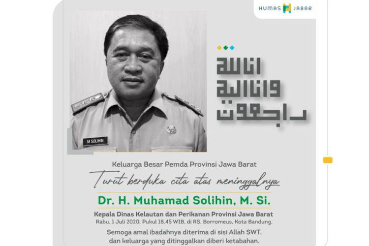 Kepala Dinas Kelautan dan Perikanan Provinsi Jawa Barat meninggal dunia, Rabu (1/7/2020) malam.