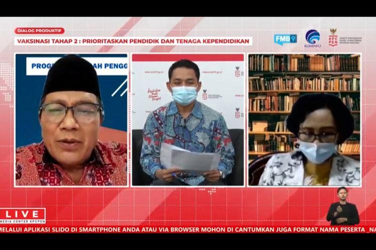 Jubir Covid 19, Nadia Tarmidzi, Ketua PGRI Unifah Rosyidi dan Direktur GTK Kemendikbud Yaswardi membahas vaksinasi tahap II untuk pendidik dan tenaga pendidik.