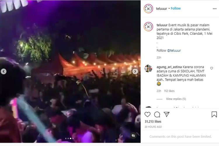 Konser di Cilandak Timur, Jakarta Selatan, pada Sabtu (1/5/2021) malam yang menyebabkan kerumunan.