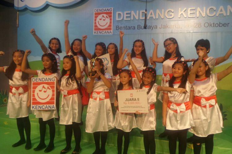 Pemenang Lomba Paduan Suara Anak TK-SD Dendang Kencana 2017 di Bentara Budaya Jakarta, Jalan Palmerah Selatan, Jakarta, Sabtu (28/10/2017).