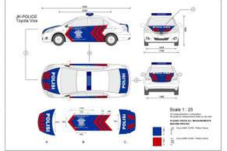 Gambar kerja desain replika mobil polisi Jakarta yang akan diproduksi di Malaysia