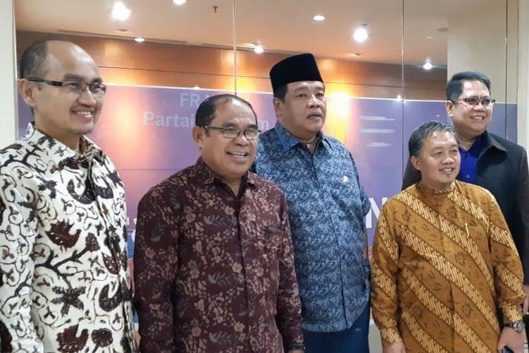 Tiga calon wakil gubernur (cawagub) DKI Jakarta seusai menemui Fraksi Partai Nasdem DPRD DKI Jakarta di Gedung DPRD DKI, Jalan Kebon Sirih, Jakarta Pusat, Selasa (29/1/2019).