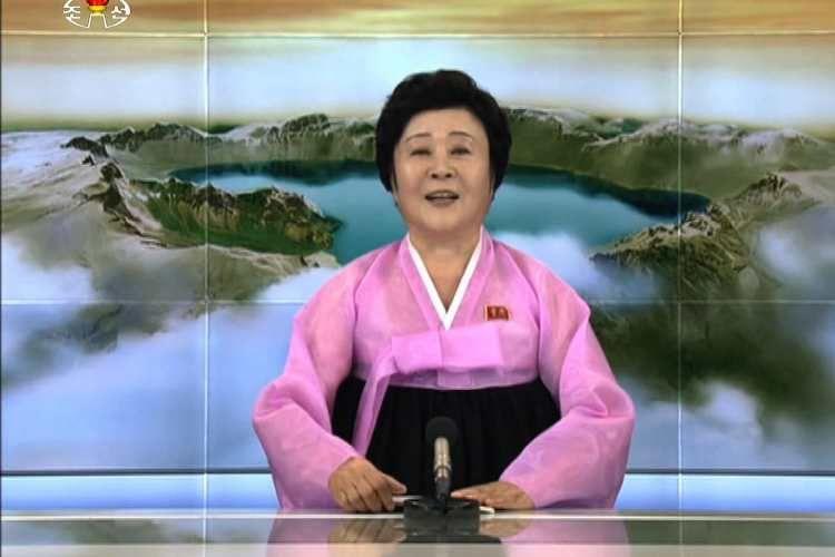 Ri Chun Hee, penyiar berita veteran Korea Utara yang diperkirakan berusia 70-an tahun. (AFP via The Telegraph)