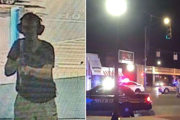 Foto kiri: Seorang pria sambil membawa senapan serbu menyerang Walmart El Paso dalam penembakan massal Texas yang menewaskan 20 orang. Foto kanan: polisi berjaga di kawasan hiburan malam populer di Dayton setelah terjadi penembakan massal Ohio yang membunuh sembilan orang. Kedua penembakan massal tersebut terjadi kurang dari 24 jam sepanjang akhir pekan ini.