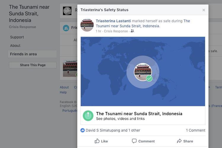 Fitur Safety Check yang aktif setelah tsunami di Banten, Sabtu (22/12/2018) malam.
