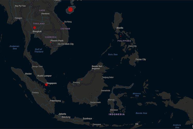 Peta persebaran virus corona di kawasan Asia Tenggara
