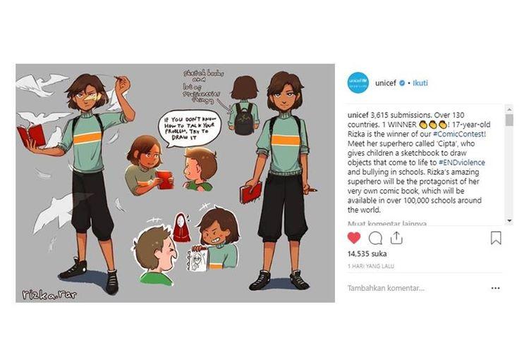 Pelajar SMA asal Makassar, Rizka Raisa Fatimah Ramli, juarai kontes komik yang diselenggarakan UNICEF untuk lawan bullying bagi anak-anak.