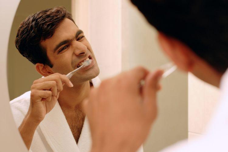 Ilustrasi menggosok gigi