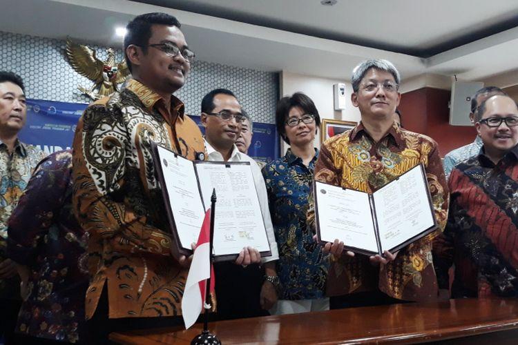Penandatanganan Perjanjian di Kantor Kementrian Perhubungan, Jumat (27/7/2018)