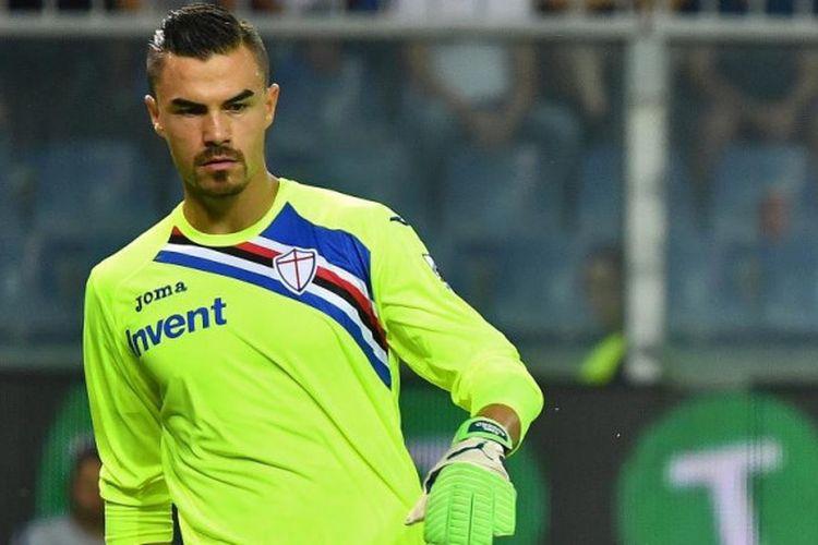 Aksi Emil Audero saat Sampdoria menghadapi Inter Milan dalam partai Liga Italia di Luigi Ferarris, Genoa, 22 September 2018.