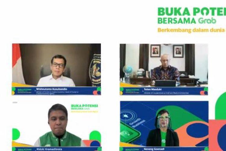 Press Conference Buka Potensi Bersama Grab, Kamis (5/11/2020). (Tangkapan Layar)