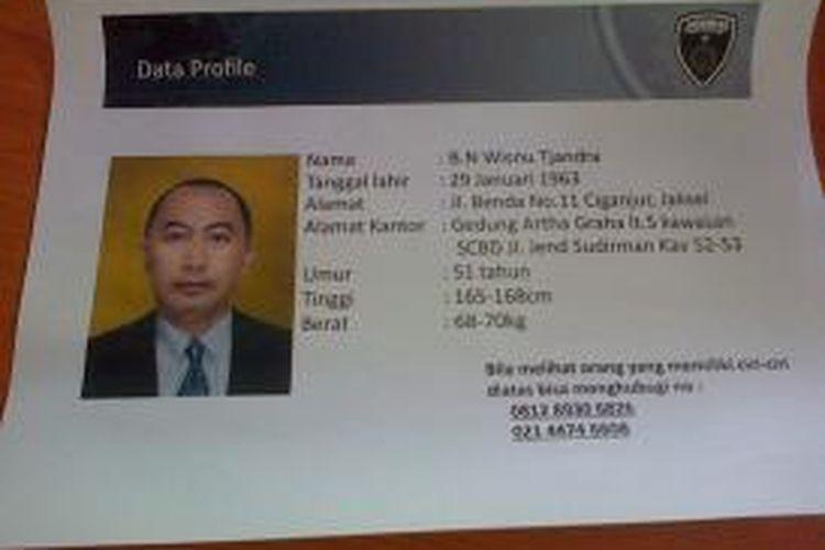 Polda Metro Jaya Merilis Selebaran Pencarian Orang Hilang, Petinggi Artha Graha, Wisnu Tjandra