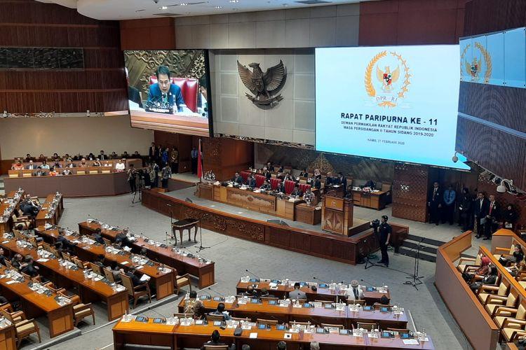 DPR menggelar rapat paripurna penutupan Masa Persidangan II Tahun 2019-2020, di Kompleks Parlemen, Senayan, Jakarta, Kamis (27/2/2020).