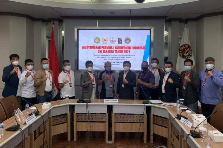 Musyawarah Provinsi Taekwondo Indonesia DKI Jakarta Tahun 2021 pada Minggu (31/1/2021) di Lemhanas, Jakarta