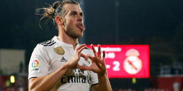 Gareth Bale merayakan gol Real Madrid ke gawang Girona dalam lanjutan Liga Spanyol di Stadion Montilivi, 26 Agustus 2018.