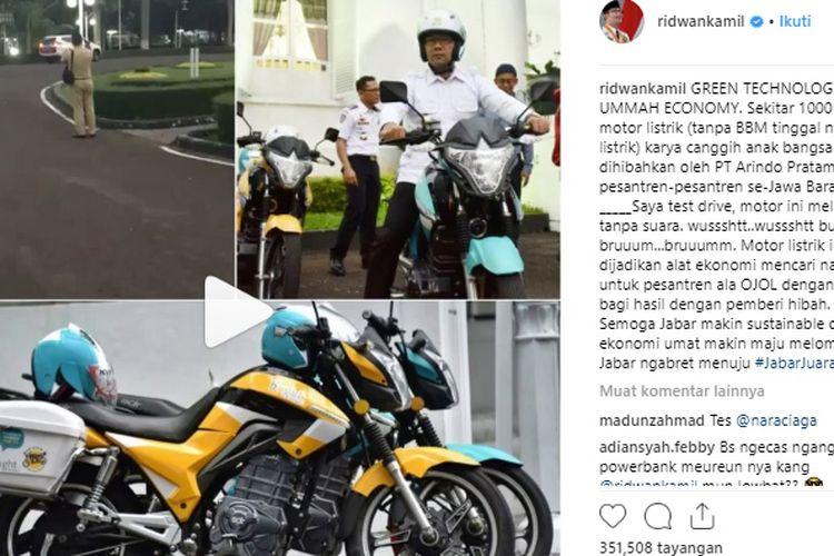 Ridwan Kamil jajal motor listrik SDR