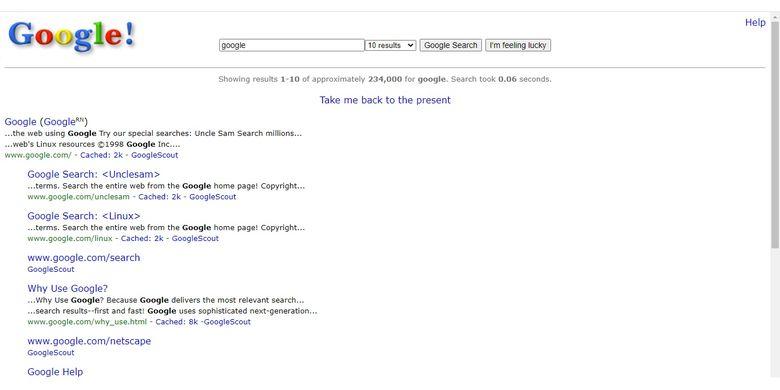 Tampilan Google di tahun 1998