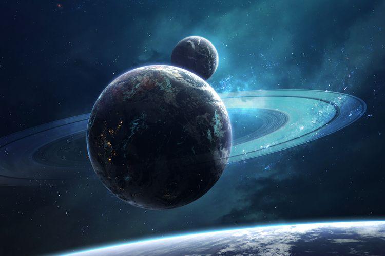 Ilustrasi Bumi memiliki cincin seperti planet Saturnus. Berbeda dengan cincin Saturnus, cincin Bumi tidak mengandung material es.